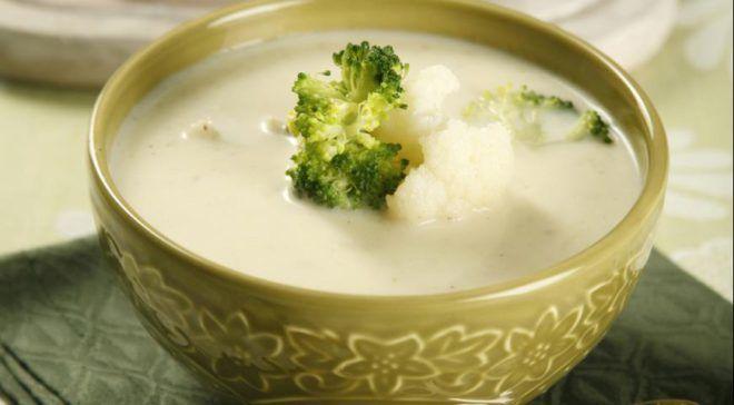 Суп-пюре с цветной капустой и брокколи