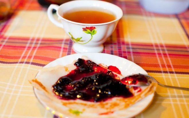 Черный чай с вареньем