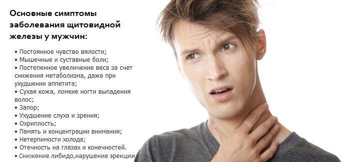 Симптомы заболевания щитовидной железы у мужчин и лечение 2
